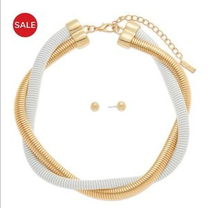 Omega White & Gold Tone Necklace and Earring Set